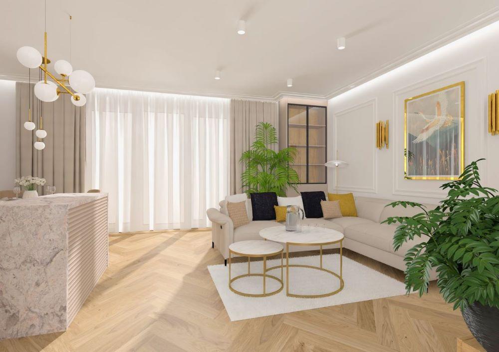 Jasny narożnik Fava na wysokich nóżkach, z regulowanymi zagłówkami i ruchomym siedziskiem stoi pod ścianą i przy stolikach kawowych ze złotymi akcentami w nowoczesnym salonie urządzonym w stylu glamour.