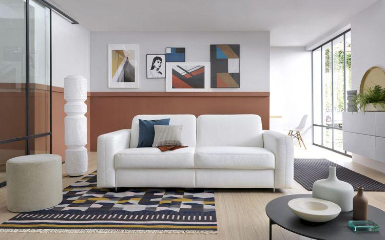 Biała skórzana sofa Sora z funkcją spania