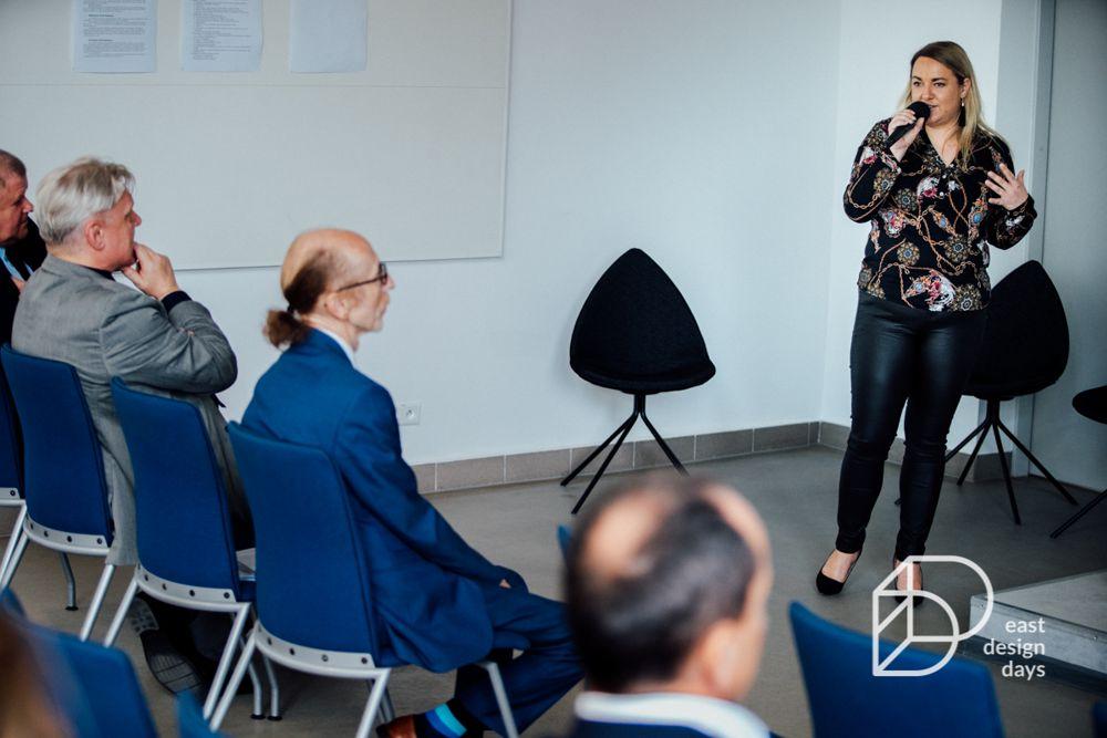 Justyna Roźniakowska z Gala Collezione opowiada uczestnikom East Design Days o roli marketingu w projektowaniu mebli
