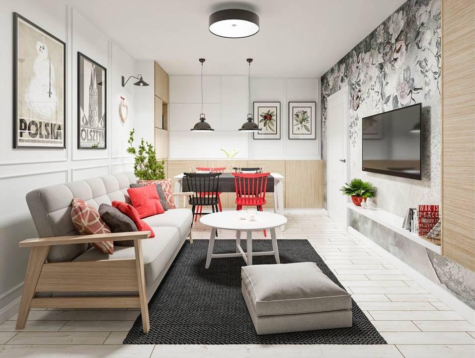 Sofa Olaf na wizualizacji autorstwa biura projektowego Homewise