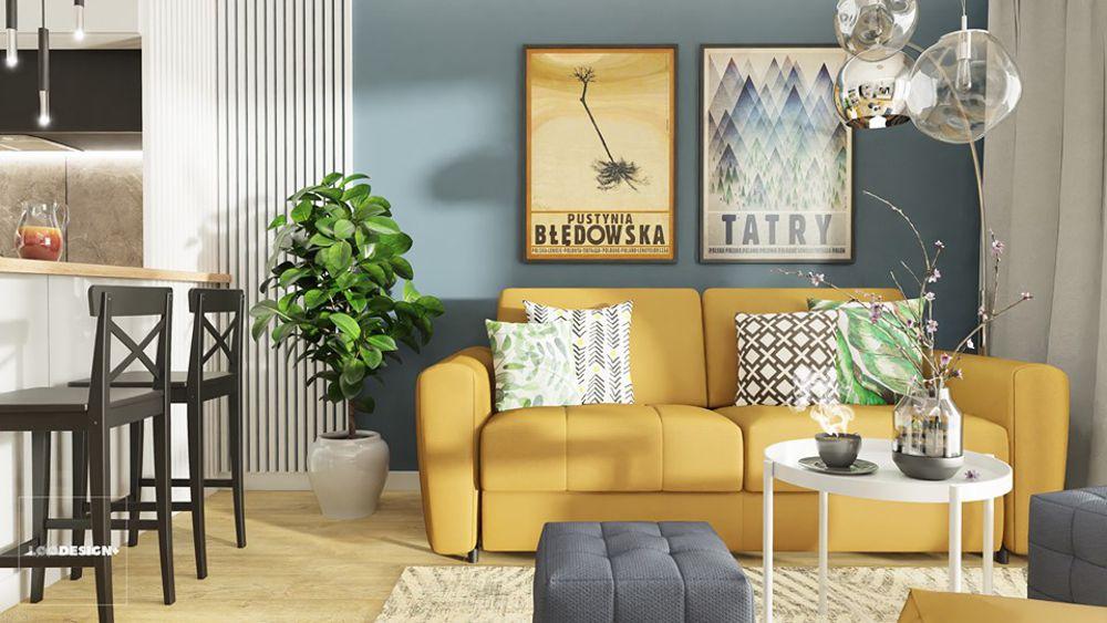 Żółta sofa Olbia (Gala Collezione) na projekcie wnętrza Łukasza Święcickiego z biura projektowego løøDESIGN+
