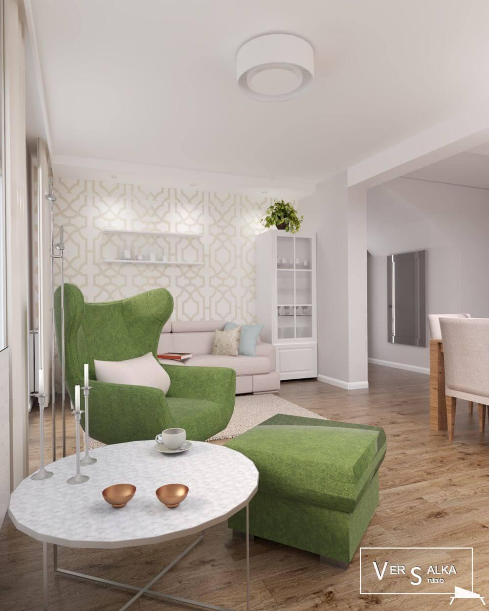 Zielony fotel Presto (Gala Collezione) | Projekt wnętrza: Versalka Studio - Projektowanie Wnętrz