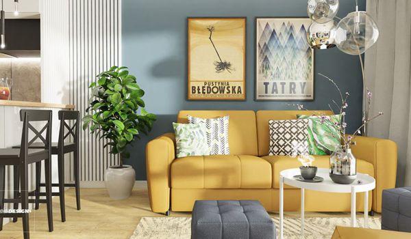 Żółte meble wypoczynkowe do salonu