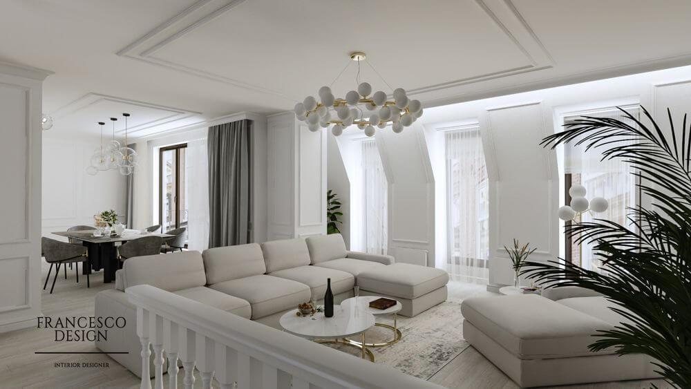 Monochromatyczne wnętrze zaprojektowane przez Arletę Kartuszewską z Francesco Design