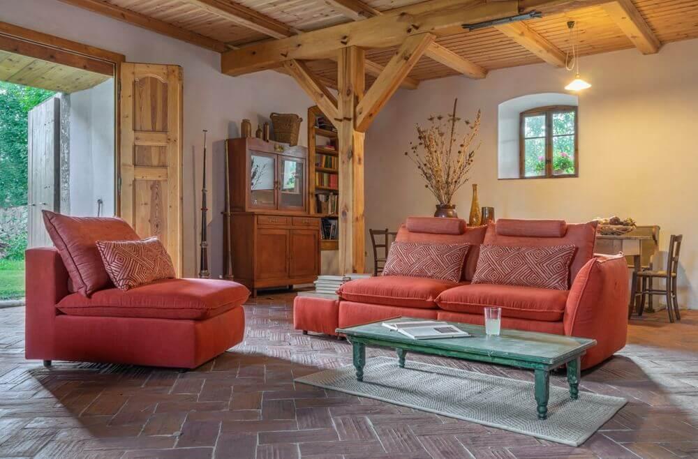 Pomarańczowy zestaw wypoczynkowy Merida | Salon w kolorach jesieni