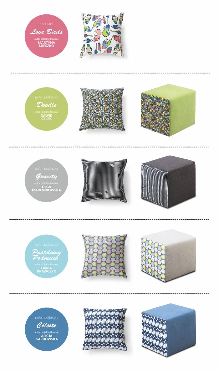 Atrakcyjne dodatki do salonu marki Gala Collezione - pufy i poduszki Gravity, Celeste, Pastelowy Podmuch, Doodle oraz Love Birds