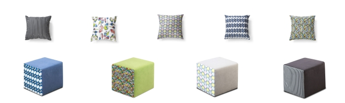 Atrakcyjne dodatki do salonu marki Gala Collezione - poznaj pufy i poduszki Doodle, Gravity, Pastelowy Podmuch, Celeste, Love Birds