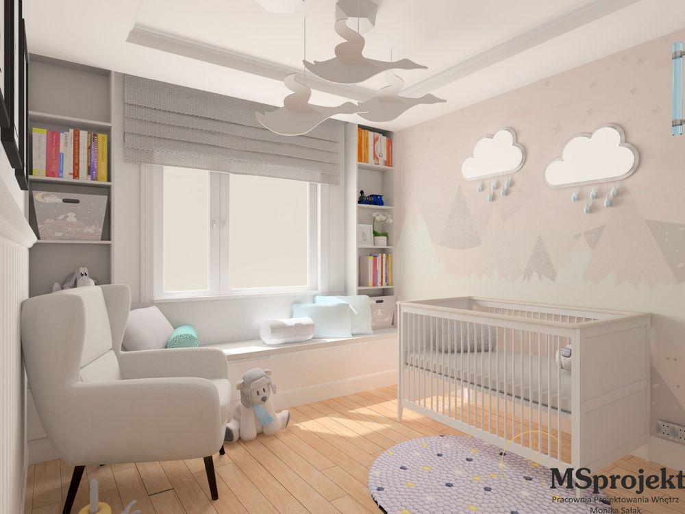 Jasny fotel Forli na ciemnych nóżkach w pokoju dziecięcym z białym łóżeczkiem