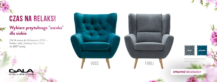 Sofa i fotel z kolekcji Voss i Forli w promocyjnej cenie