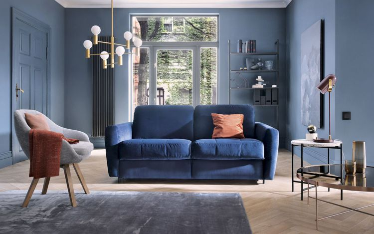 Mała sofa do spania Olbia w obiciu welurowym