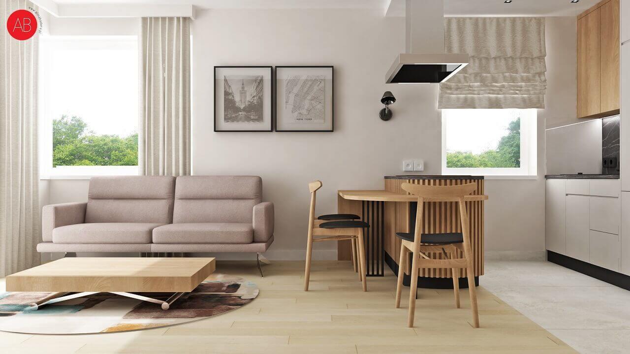 Sofa Genova na wizualizacji autorstwa Aliny Badory, architekta wnętrz