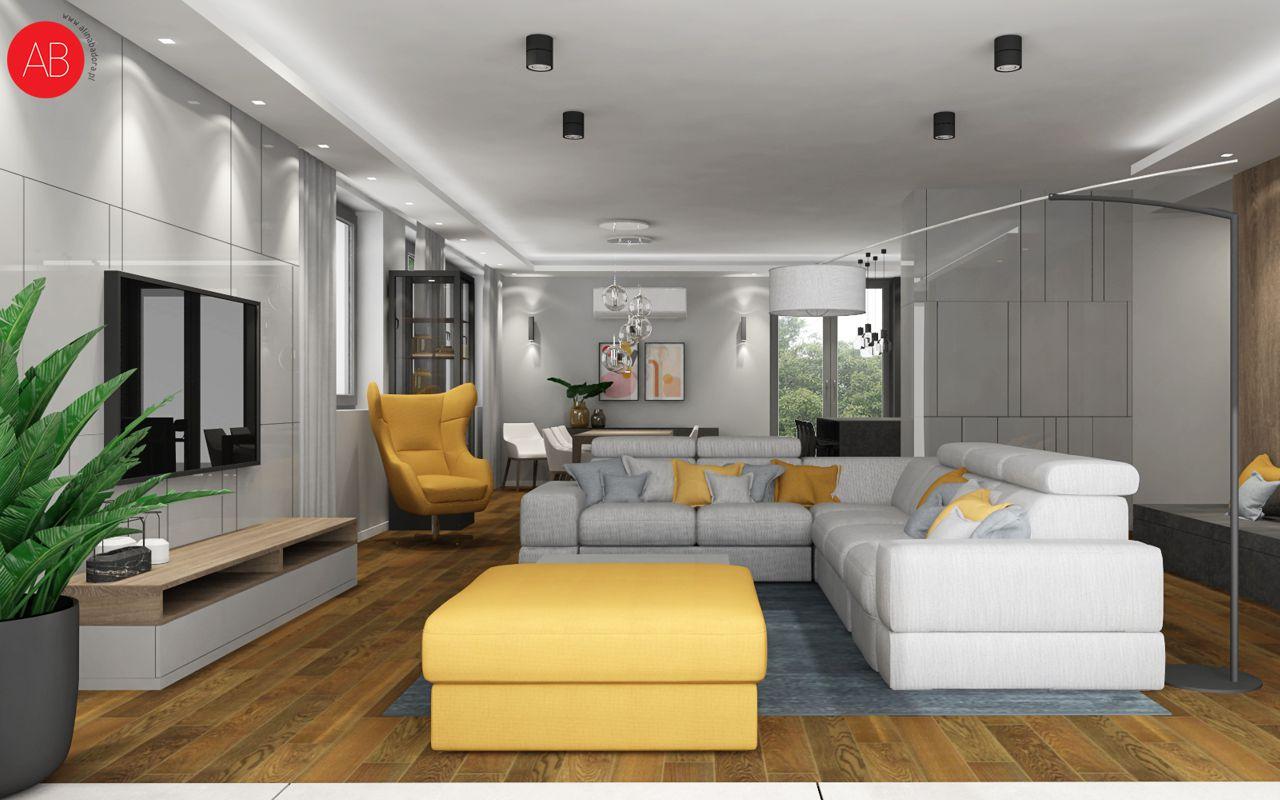 Narożnik Plaza i fotel ZIng na wizualizacji autorstwa architekt wnętrz Aliny Badory | Gala Collezione Inspiruje