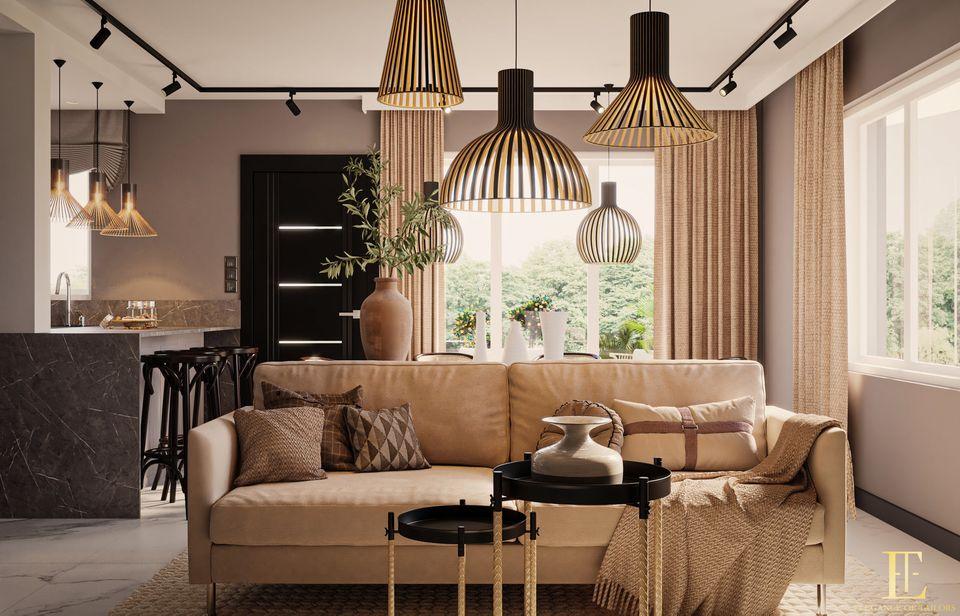 Trzyosobowa sofa Ema marki Sweet Sit na wizualizacji wnętrza autorstwa biura Elegance of Taylors | Inspiracje Gala Collezione