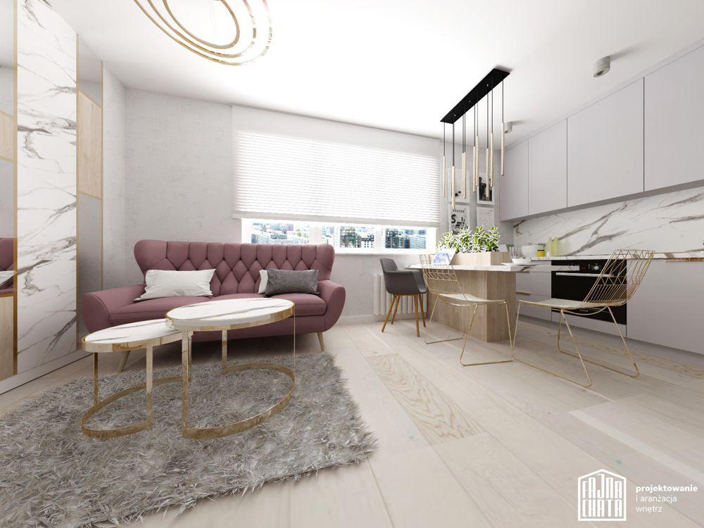 Sofa Voss na wizualizacji autorstwa biura projektowego Fajna Chata