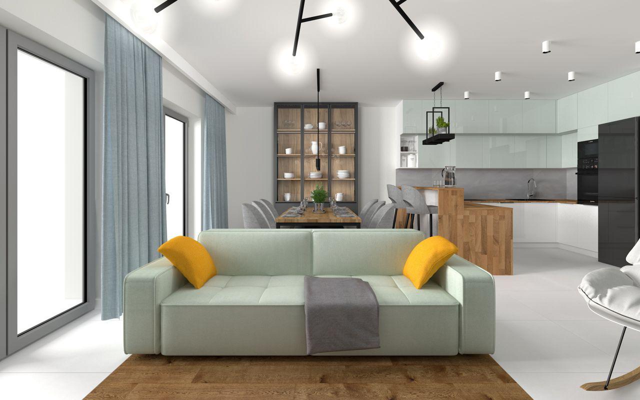 Sofa Modo marki Sweet Sit na wizualizacji wnętrza przygotowanej przez pracownię IMO Studio
