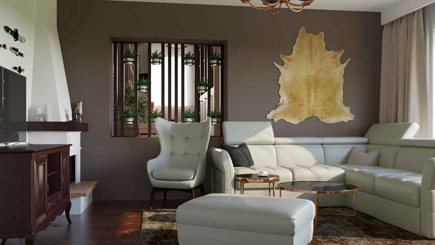 Narożnik Massimo na wizualizacji autorstwa Joanny Nowak - Wicherskiej z biura projektowego Przytulne Wnętrze