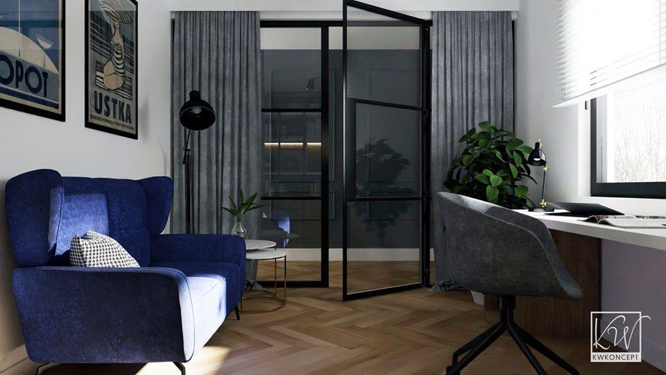 Sofa Forli na wizualizacji przygotowanej przez pracownię KWKoncept