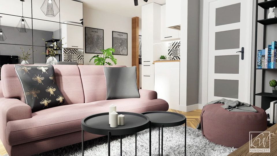 Sofa Monday na wizualizacji autorstwa pracowni KWKoncept