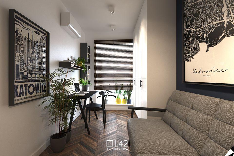 Sofa Olaf na wizualizacji autorstwa Daniela Niewiadomskiego L42 Architektura