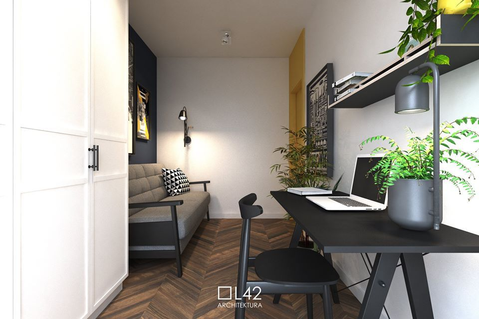 Sofa Olaf na wizualizacji autorstwa pracowni L42Architektura