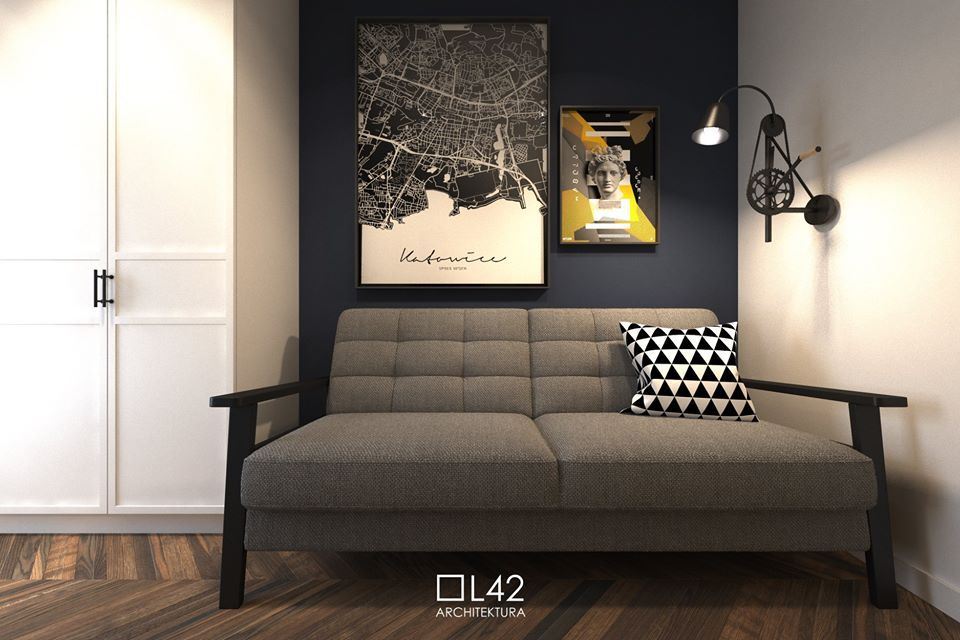 Sofa Olaf na wizualizacji autorstwa biura projektowego L42Architektura