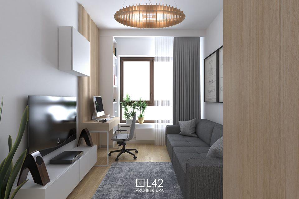 Sofa Modo marki Sweet Sit na wizualizacji autorstwa pracowni L42 Architektura