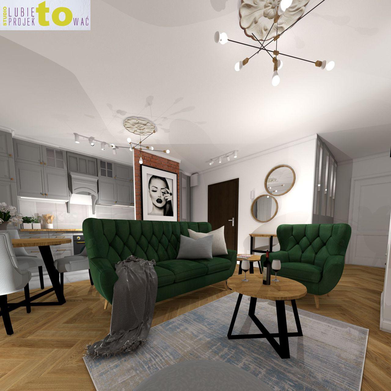 Sofa i fotel Voss Gala Collezione na projekcie wnętrza pracowni Lubię Projektować