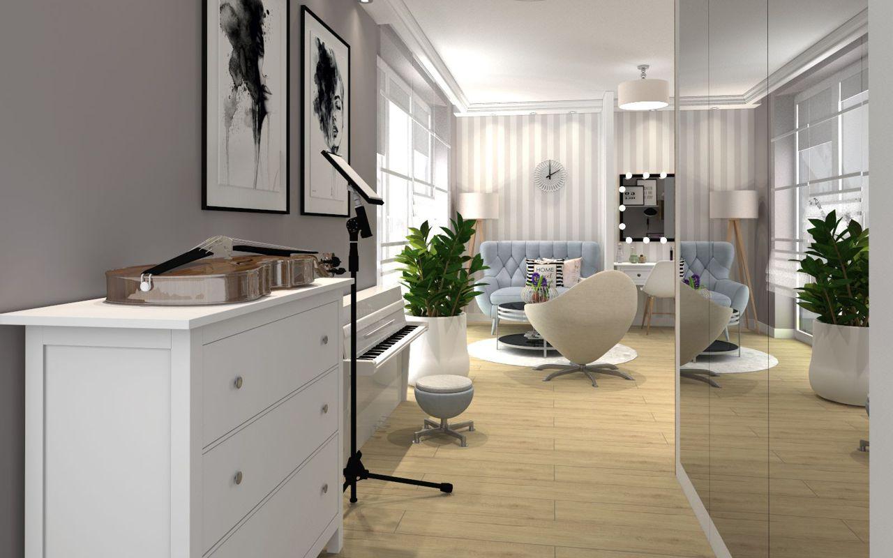 Sofa Voss marki Gala Collezione w sypialni nastolatki z białą komodą i dużym lustrem