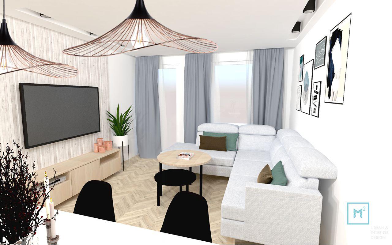 Narożnk Sisto marki Sweet Sit na wizualizacji autorstwa biura projektowego M do Kwadratu