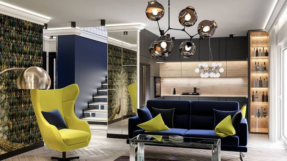 Sofa Genova i fotel Zing na wizualizacji autorstwa Katarzyny Olszewskiej z Mija Design | Inspiracje Gala Collezione
