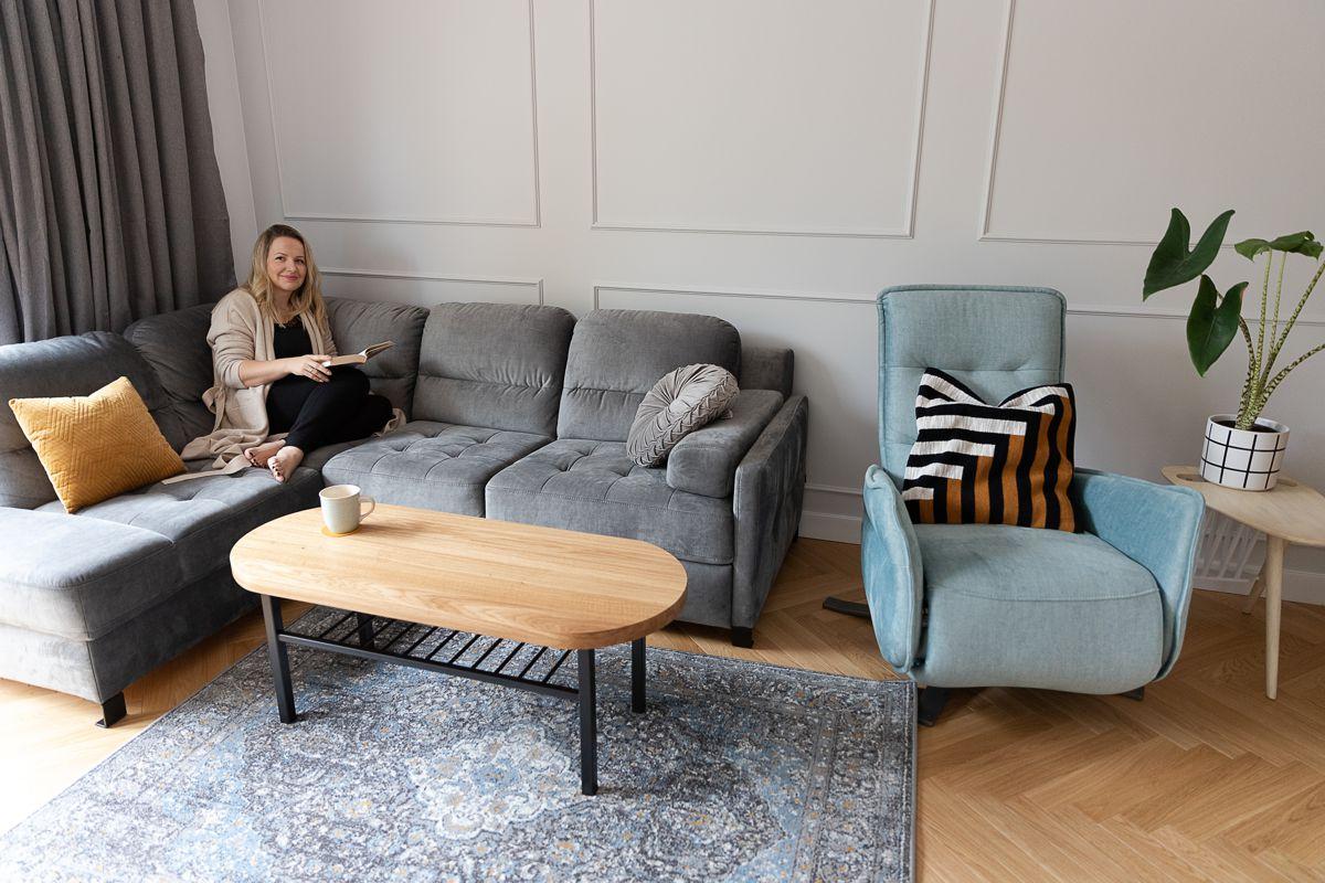 Narożnik Fiorino i fotel Res w domu influencerki Anny Trawki z nebule.pl | Inspiracje Gala Collezione