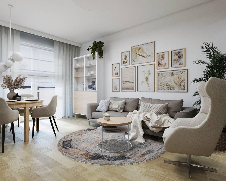 Fotel Neo na wizualizacji autorstwa Moniki Woźniak-Kołdzińskiej z biura projektowego Niebanalne Wnętrze