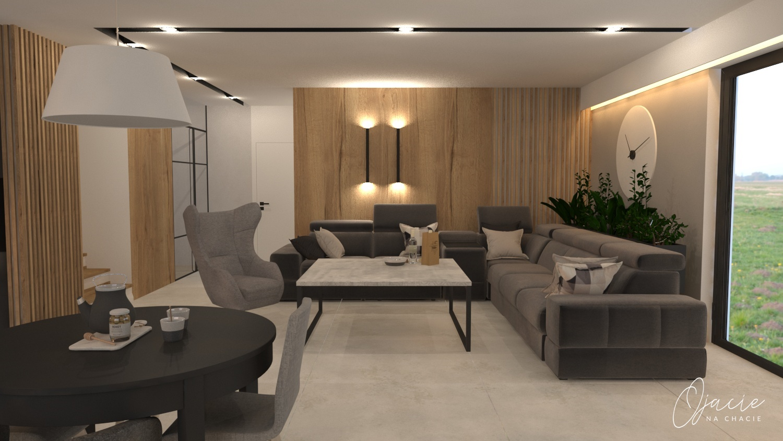 Fotel Zing i system modułowy Plaza na wizualizacji Magdaleny Nieczypor z biura projektowego Ojacie na Chacie | Gala Collezione Inspiruje