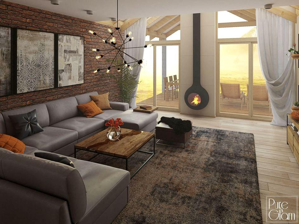 Narożnik Karato marki Gala Collezione na tle ceglanej ściany, we wnętrzu w stylu loftowym