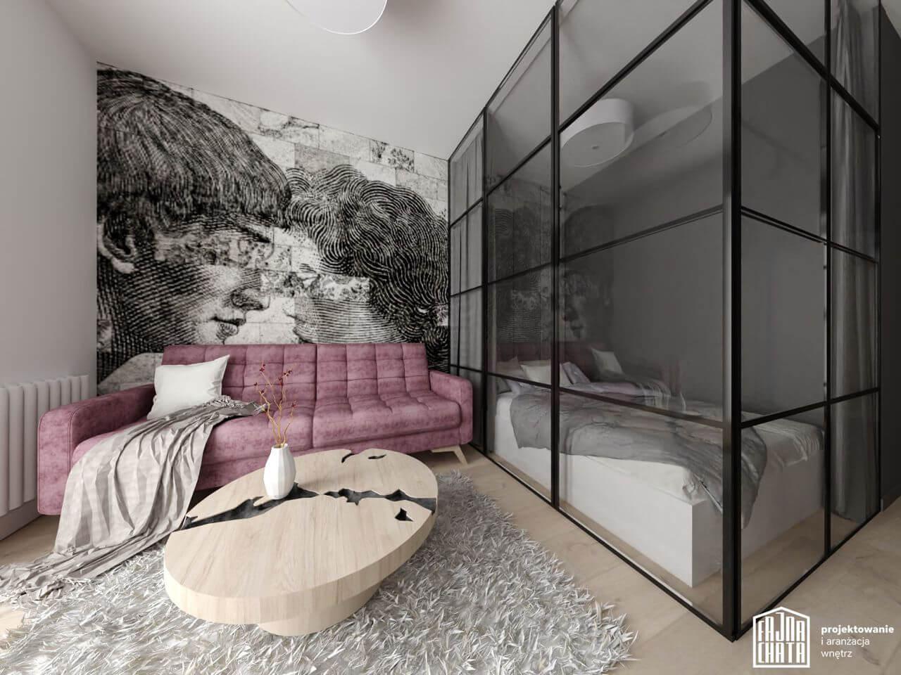Sofa Fiord marki Sweet Sit na wizualizacji autorstwa Katarzyny Samoń z biura projektowego Fajna Chata