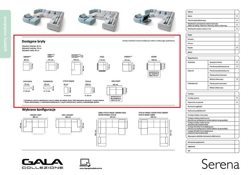 Elementy systemu modułowego na karcie produktowej Gala Collezione