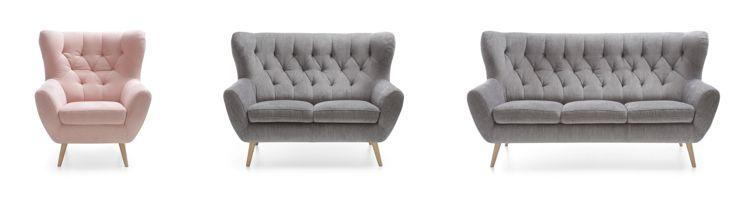 Kolekcja Voss - wygodny fotel, sofa dwuosobowa i sofa trzyosobowa