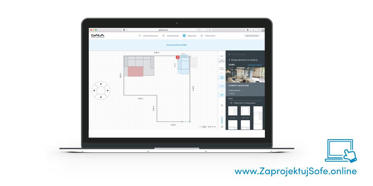 Kreator 2D umożliwiający konfigurację sofy Gala Collezione