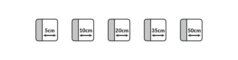 Piktogramy wskazujące minimalna odległość od ściany, w jakiej muszą być ustawione meble Gala Collezione z funkcją relaksu