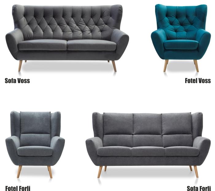 Sofy i fotele z kolekcji Voss i Forli w promocyjnej cenie