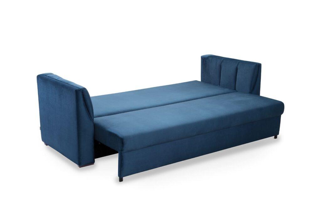 Sofa Paxi marki Sweet Sit w granatowej tapicerce z rozłożoną funkcją spania typu DL PLUS.
