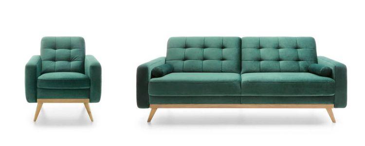 Kolekcja Nova - zielona sofa i welwetowy fotel | marka Sweet Sit